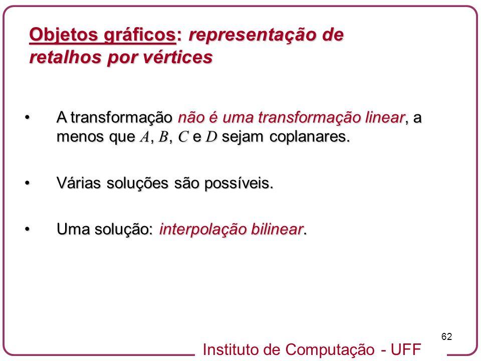 Instituto de Computação - UFF 62 Objetos gráficos: representação de retalhos por vértices A transformação não é uma transformação linear, a menos que