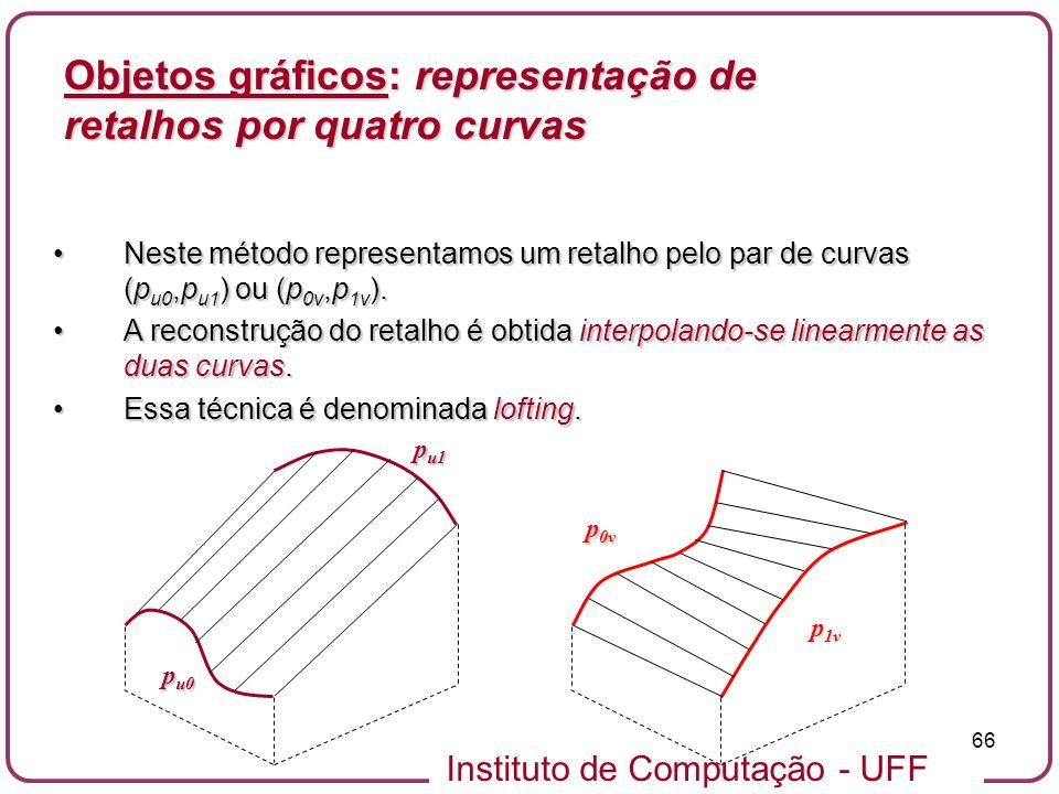 Instituto de Computação - UFF 66 Objetos gráficos: representação de retalhos por quatro curvas Neste método representamos um retalho pelo par de curva