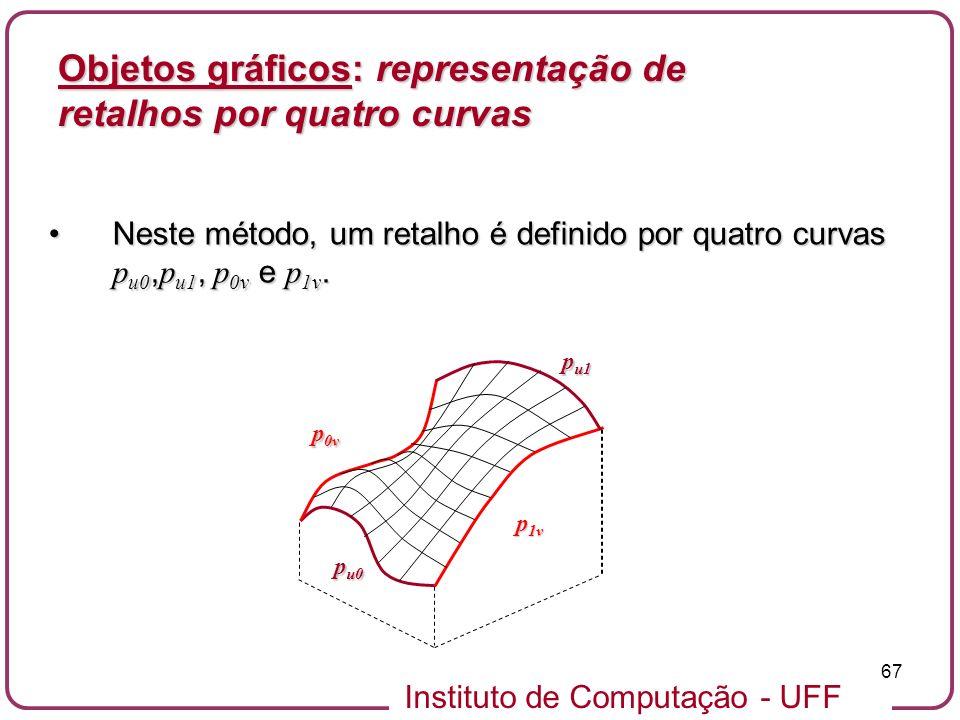 Instituto de Computação - UFF 67 Objetos gráficos: representação de retalhos por quatro curvas Neste método, um retalho é definido por quatro curvas p