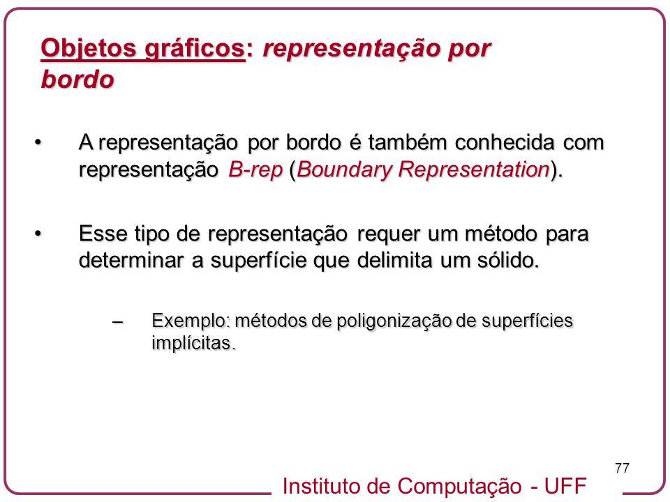 Instituto de Computação - UFF 77 Objetos gráficos: representação por bordo A representação por bordo é também conhecida com representação B-rep (Bound
