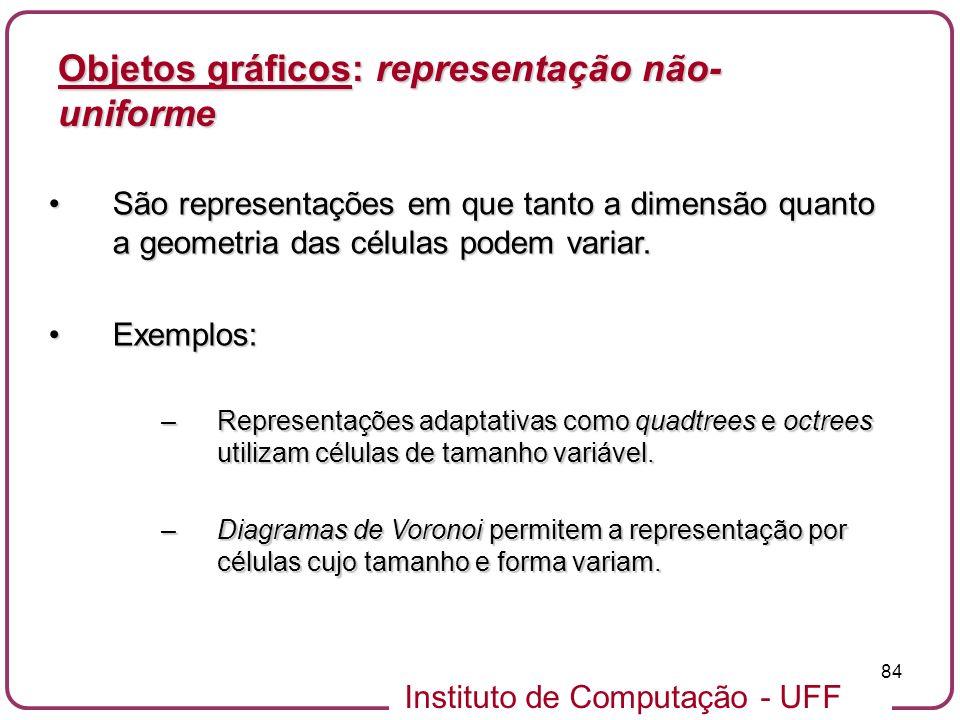 Instituto de Computação - UFF 84 Objetos gráficos: representação não- uniforme São representações em que tanto a dimensão quanto a geometria das célul