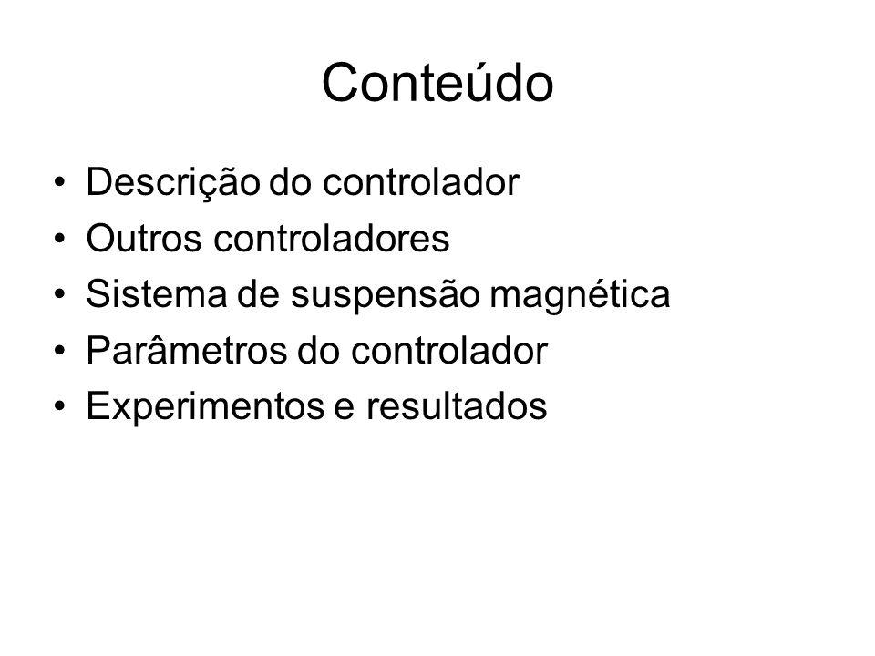 Descrição do controlador Controlador PID nebuloso –Aplicável a plantas difíceis de se modelar; –Utiliza heurística; –Não existem procedimentos de projeto; –Quanto maior o número de variáveis nebulosas mais complicada solução.