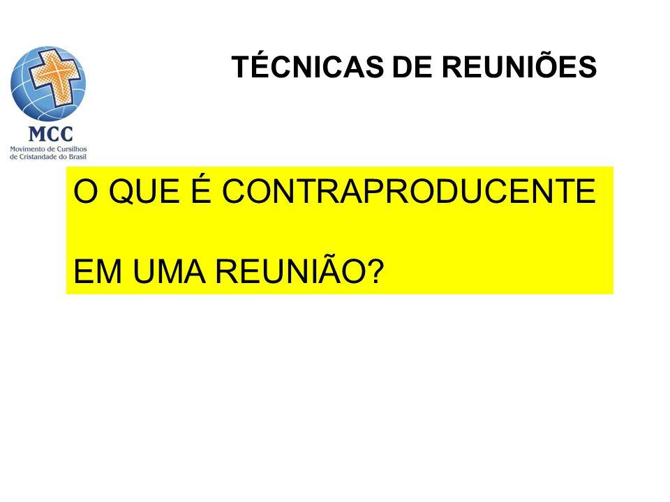 TÉCNICAS DE REUNIÕES Introdução Planejamento Realização da reunião Problemas a evitar
