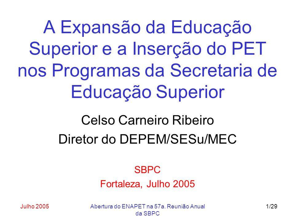 Julho 2005Abertura do ENAPET na 57a. Reunião Anual da SBPC 1/29 A Expansão da Educação Superior e a Inserção do PET nos Programas da Secretaria de Edu