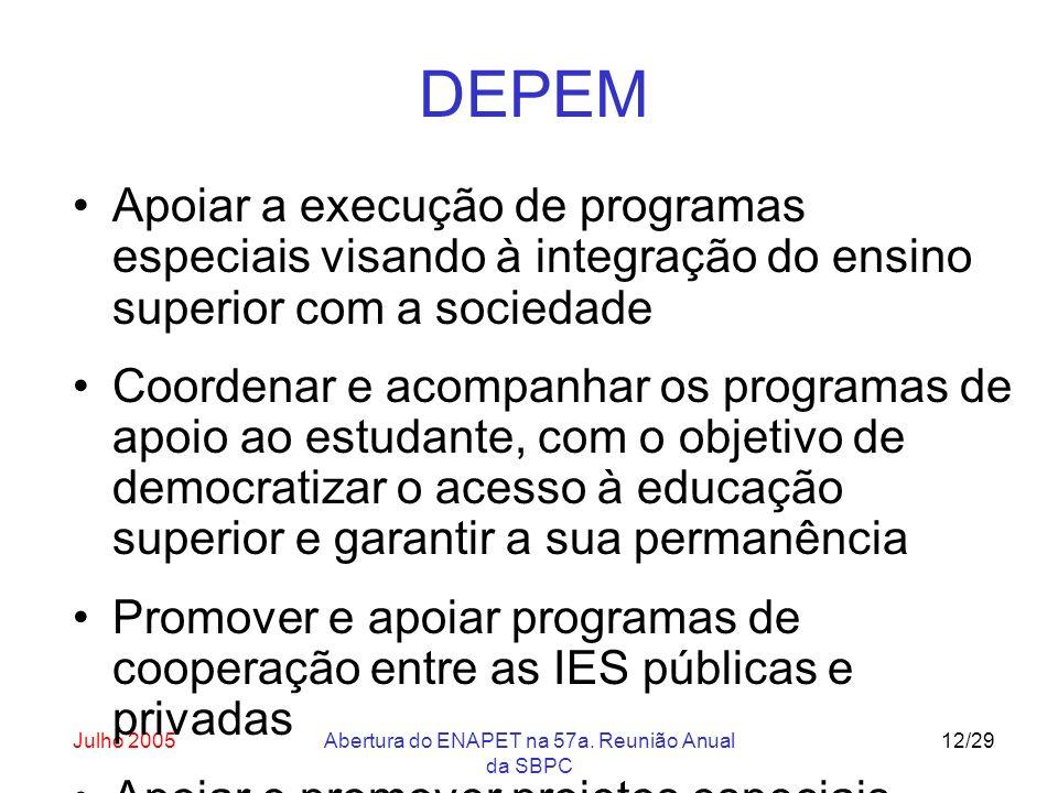 Julho 2005Abertura do ENAPET na 57a. Reunião Anual da SBPC 12/29 DEPEM Apoiar a execução de programas especiais visando à integração do ensino superio