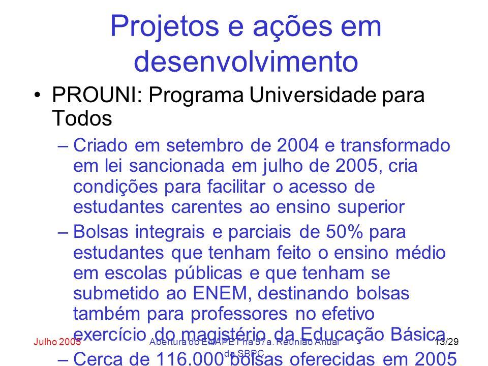 Julho 2005Abertura do ENAPET na 57a. Reunião Anual da SBPC 13/29 Projetos e ações em desenvolvimento PROUNI: Programa Universidade para Todos –Criado