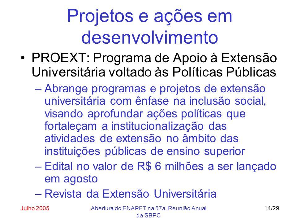 Julho 2005Abertura do ENAPET na 57a. Reunião Anual da SBPC 14/29 Projetos e ações em desenvolvimento PROEXT: Programa de Apoio à Extensão Universitári