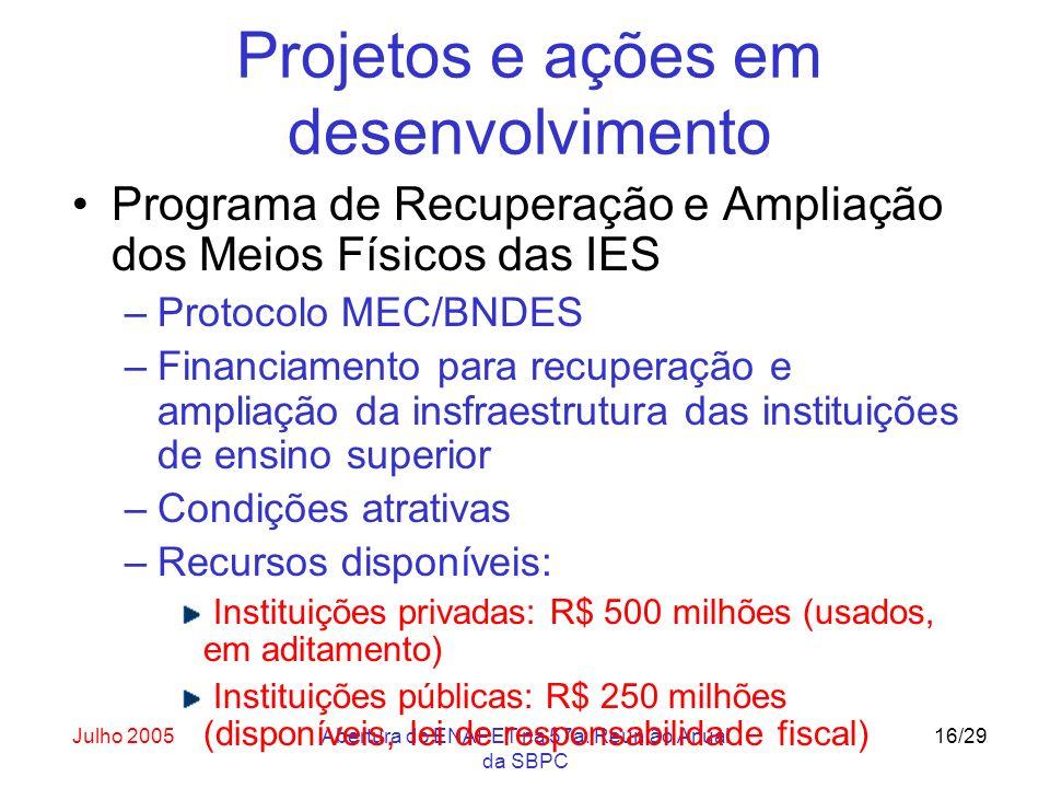 Julho 2005Abertura do ENAPET na 57a. Reunião Anual da SBPC 16/29 Projetos e ações em desenvolvimento Programa de Recuperação e Ampliação dos Meios Fís