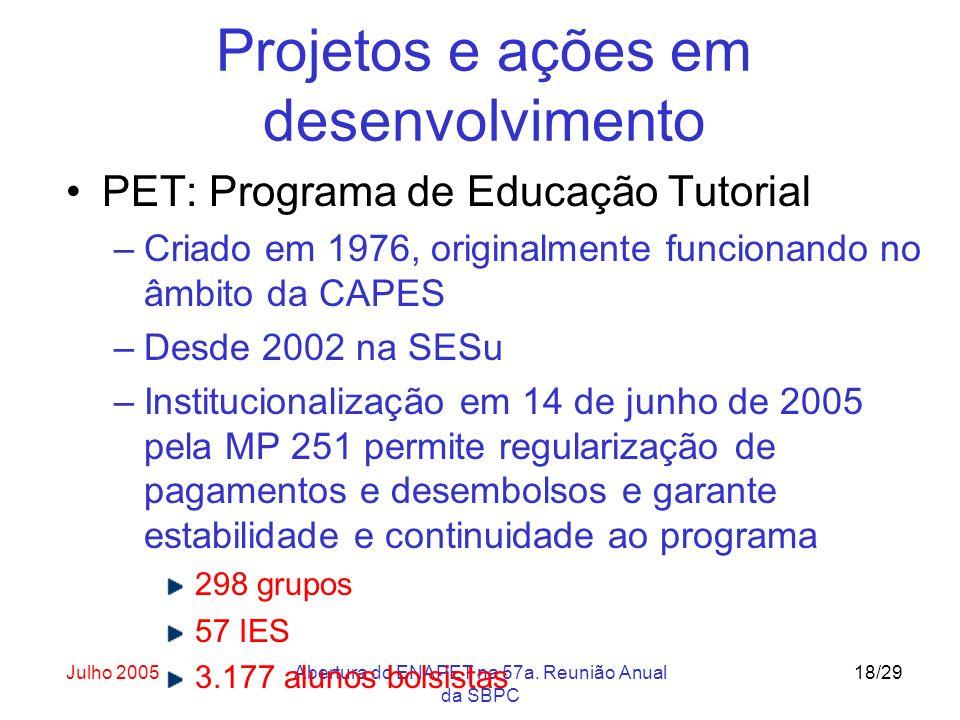 Julho 2005Abertura do ENAPET na 57a. Reunião Anual da SBPC 18/29 Projetos e ações em desenvolvimento PET: Programa de Educação Tutorial –Criado em 197