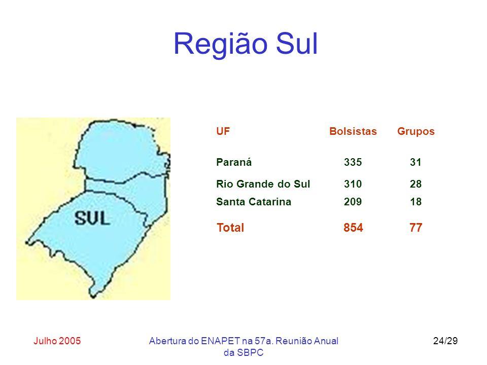 Julho 2005Abertura do ENAPET na 57a. Reunião Anual da SBPC 24/29 UF Paraná Bolsistas 335 Grupos 31 Rio Grande do Sul31028 Santa Catarina20918 Total854
