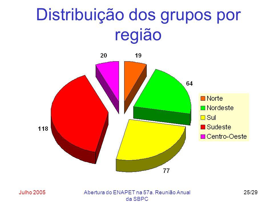 Julho 2005Abertura do ENAPET na 57a. Reunião Anual da SBPC 25/29 Distribuição dos grupos por região