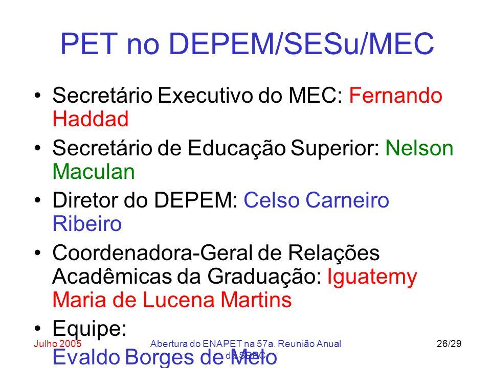 Julho 2005Abertura do ENAPET na 57a. Reunião Anual da SBPC 26/29 PET no DEPEM/SESu/MEC Secretário Executivo do MEC: Fernando Haddad Secretário de Educ