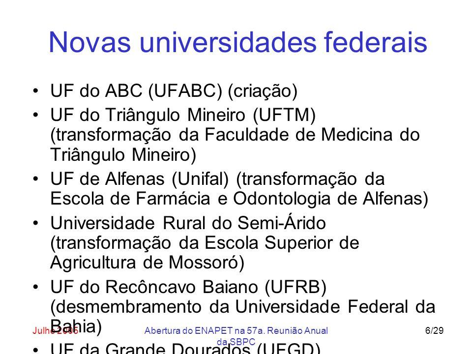 Julho 2005Abertura do ENAPET na 57a. Reunião Anual da SBPC 6/29 Novas universidades federais UF do ABC (UFABC) (criação) UF do Triângulo Mineiro (UFTM