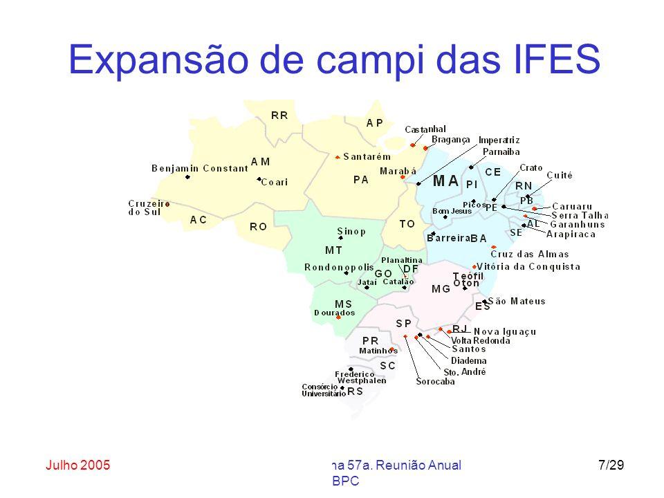 Julho 2005Abertura do ENAPET na 57a. Reunião Anual da SBPC 7/29 Expansão de campi das IFES