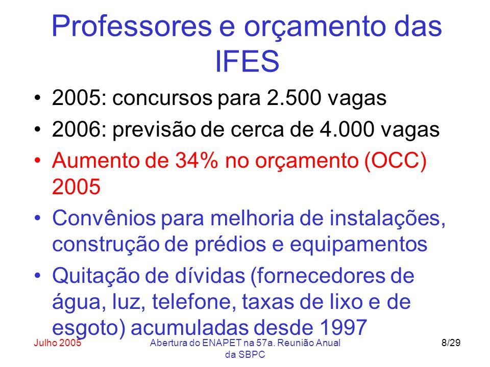 Julho 2005Abertura do ENAPET na 57a. Reunião Anual da SBPC 8/29 Professores e orçamento das IFES 2005: concursos para 2.500 vagas 2006: previsão de ce