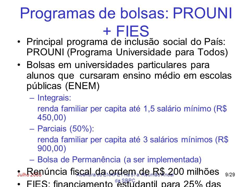 Julho 2005Abertura do ENAPET na 57a. Reunião Anual da SBPC 9/29 Programas de bolsas: PROUNI + FIES Principal programa de inclusão social do País: PROU
