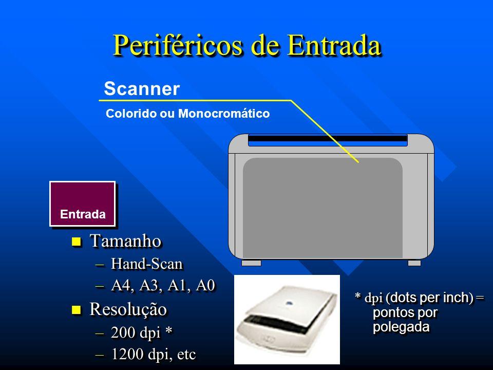 Entrada Periféricos de Entrada Scanner Colorido ou Monocromático Tamanho Tamanho –Hand-Scan –A4, A3, A1, A0 Resolução Resolução –200 dpi * –1200 dpi,