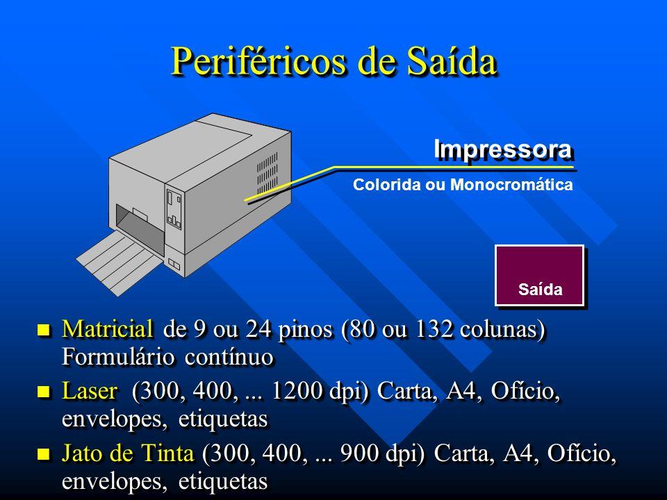 Periféricos de Saída Saída Impressora Matricial de 9 ou 24 pinos (80 ou 132 colunas) Formulário contínuo Matricial de 9 ou 24 pinos (80 ou 132 colunas