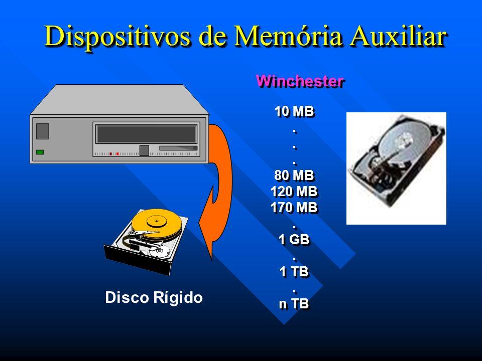 Dispositivos de Memória Auxiliar Winchester 10 MB. 80 MB 120 MB 170 MB. 1 GB. 1 TB. n TB 10 MB. 80 MB 120 MB 170 MB. 1 GB. 1 TB. n TB Disco Rígido