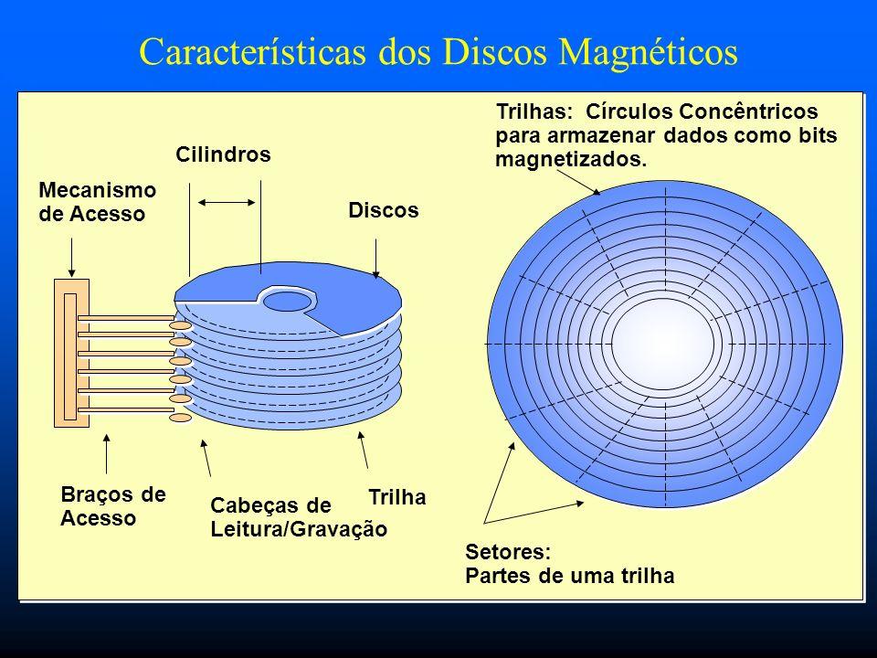 Características dos Discos Magnéticos Cilindros Mecanismo de Acesso Braços de Acesso Cabeças de Leitura/Gravação Discos Trilhas: Círculos Concêntricos