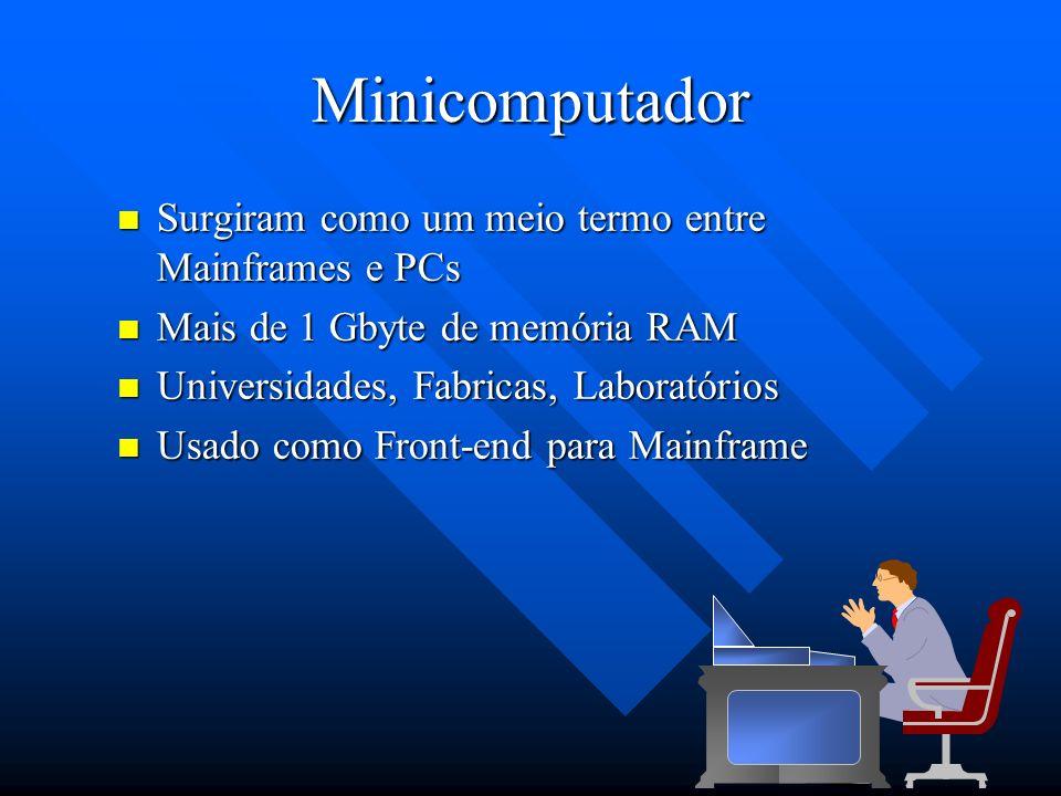 Minicomputador Surgiram como um meio termo entre Mainframes e PCs Surgiram como um meio termo entre Mainframes e PCs Mais de 1 Gbyte de memória RAM Ma