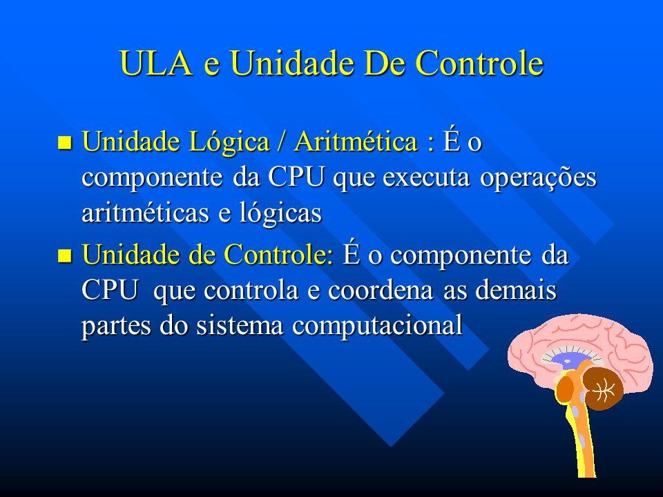 ULA e Unidade De Controle Unidade Lógica / Aritmética : É o componente da CPU que executa operações aritméticas e lógicas Unidade Lógica / Aritmética