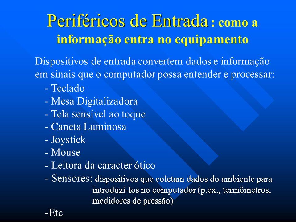 Periféricos de Entrada Periféricos de Entrada : como a informação entra no equipamento Dispositivos de entrada convertem dados e informação em sinais