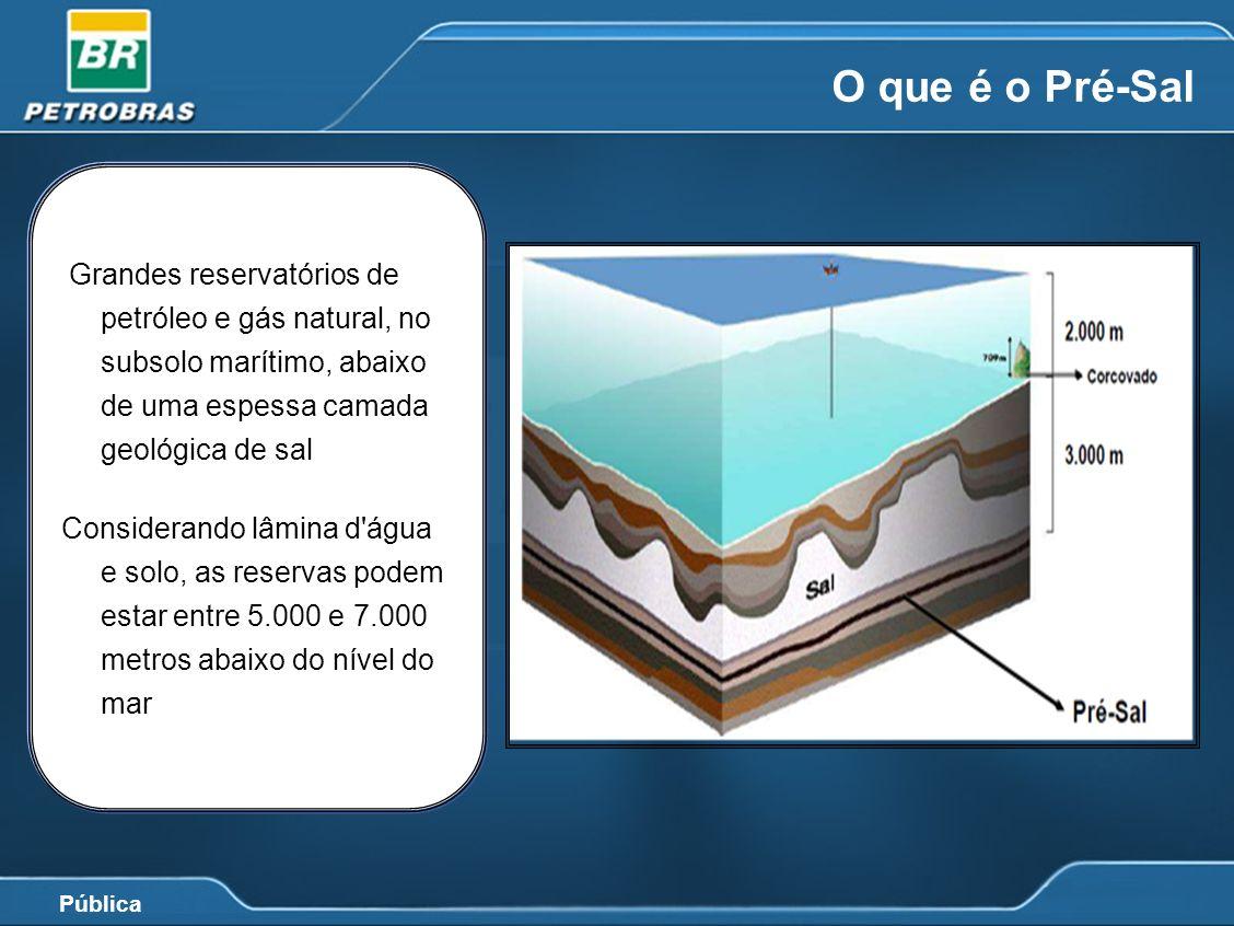 Pública O que é o Pré-Sal Grandes reservatórios de petróleo e gás natural, no subsolo marítimo, abaixo de uma espessa camada geológica de sal Consider