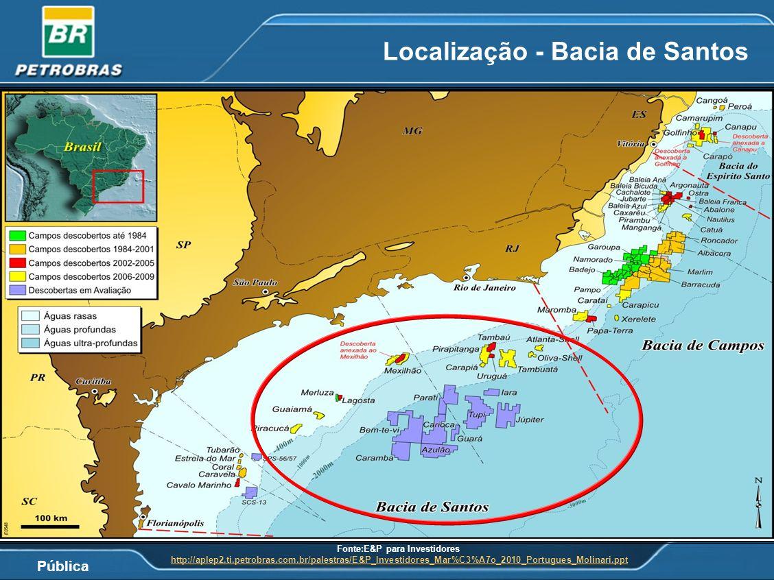 Pública Localização - Bacia de Santos Fonte:E&P para Investidores http://aplep2.ti.petrobras.com.br/palestras/E&P_Investidores_Mar%C3%A7o_2010_Portugu