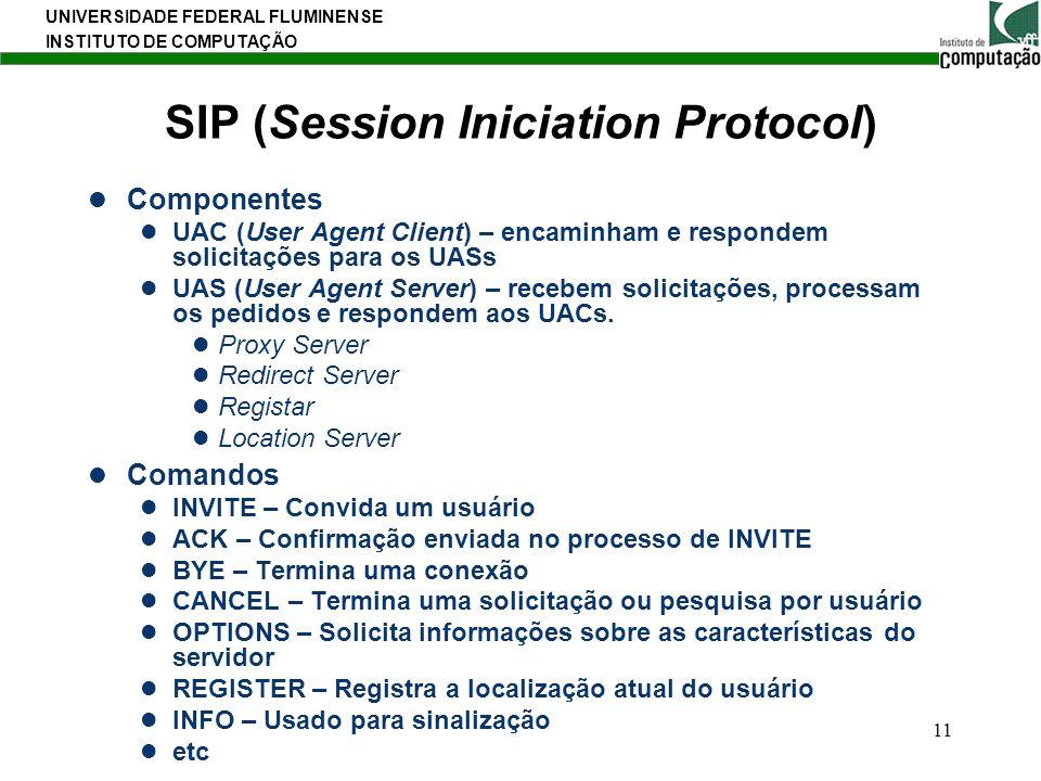 UNIVERSIDADE FEDERAL FLUMINENSE INSTITUTO DE COMPUTAÇÃO 11 SIP (Session Iniciation Protocol) Componentes UAC (User Agent Client) – encaminham e respon