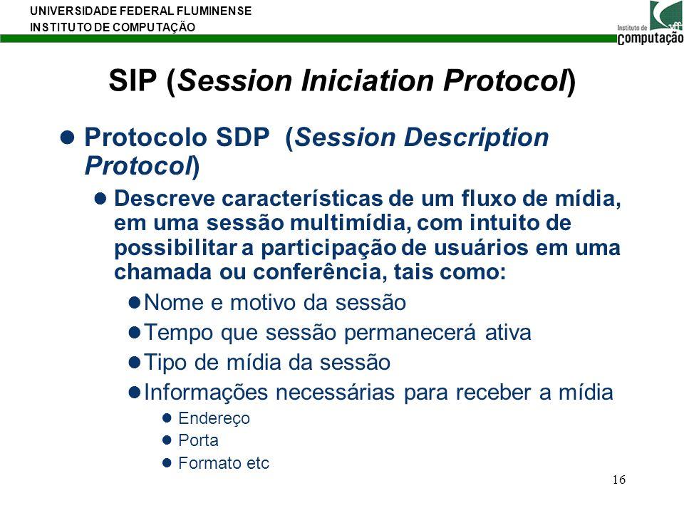 UNIVERSIDADE FEDERAL FLUMINENSE INSTITUTO DE COMPUTAÇÃO 16 SIP (Session Iniciation Protocol) Protocolo SDP (Session Description Protocol) Descreve car