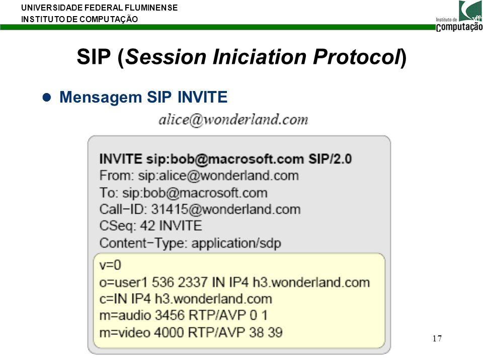 UNIVERSIDADE FEDERAL FLUMINENSE INSTITUTO DE COMPUTAÇÃO 17 SIP (Session Iniciation Protocol) Mensagem SIP INVITE