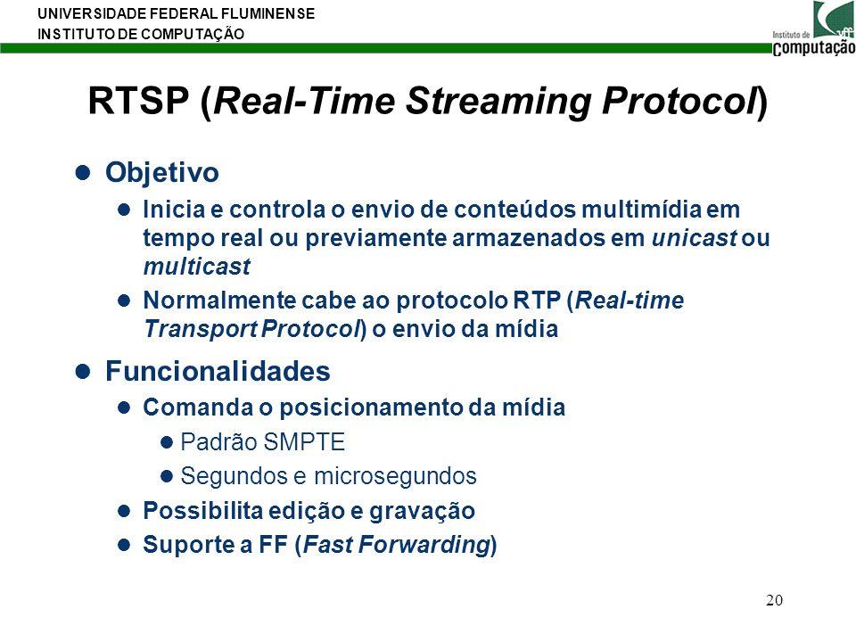 UNIVERSIDADE FEDERAL FLUMINENSE INSTITUTO DE COMPUTAÇÃO 20 RTSP (Real-Time Streaming Protocol) Objetivo Inicia e controla o envio de conteúdos multimí