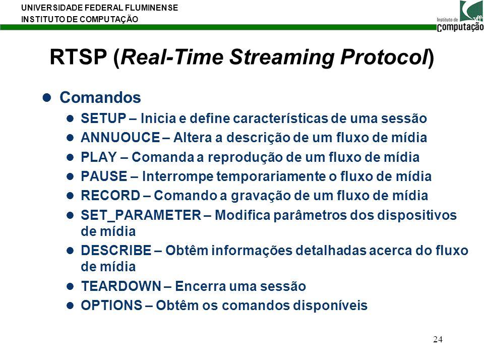 UNIVERSIDADE FEDERAL FLUMINENSE INSTITUTO DE COMPUTAÇÃO 24 RTSP (Real-Time Streaming Protocol) Comandos SETUP – Inicia e define características de uma