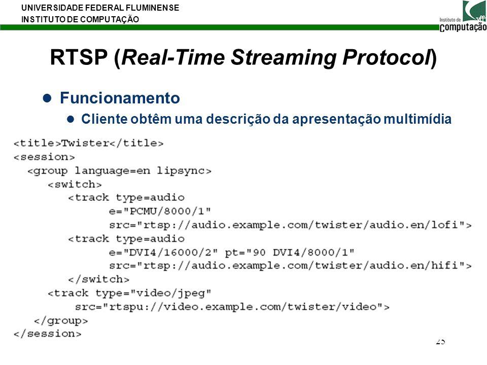 UNIVERSIDADE FEDERAL FLUMINENSE INSTITUTO DE COMPUTAÇÃO 25 RTSP (Real-Time Streaming Protocol) Funcionamento Cliente obtêm uma descrição da apresentaç