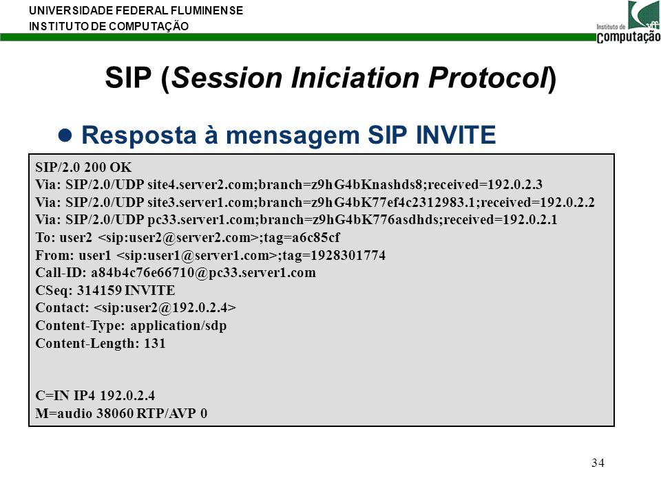 UNIVERSIDADE FEDERAL FLUMINENSE INSTITUTO DE COMPUTAÇÃO 34 SIP (Session Iniciation Protocol) Resposta à mensagem SIP INVITE SIP/2.0 200 OK Via: SIP/2.