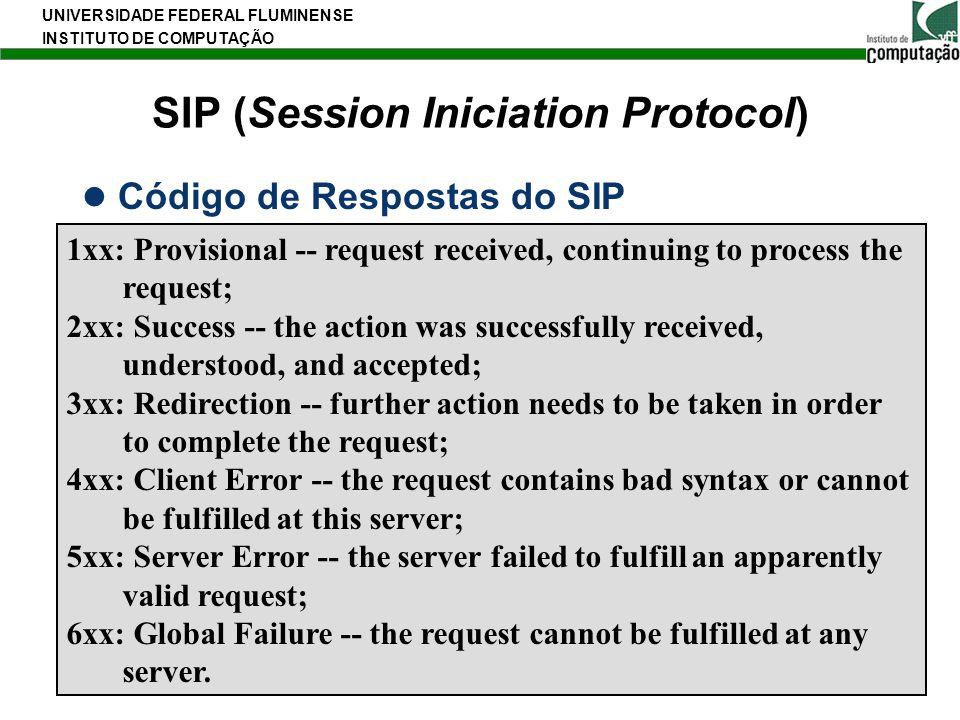 UNIVERSIDADE FEDERAL FLUMINENSE INSTITUTO DE COMPUTAÇÃO 35 SIP (Session Iniciation Protocol) Código de Respostas do SIP 1xx: Provisional -- request re