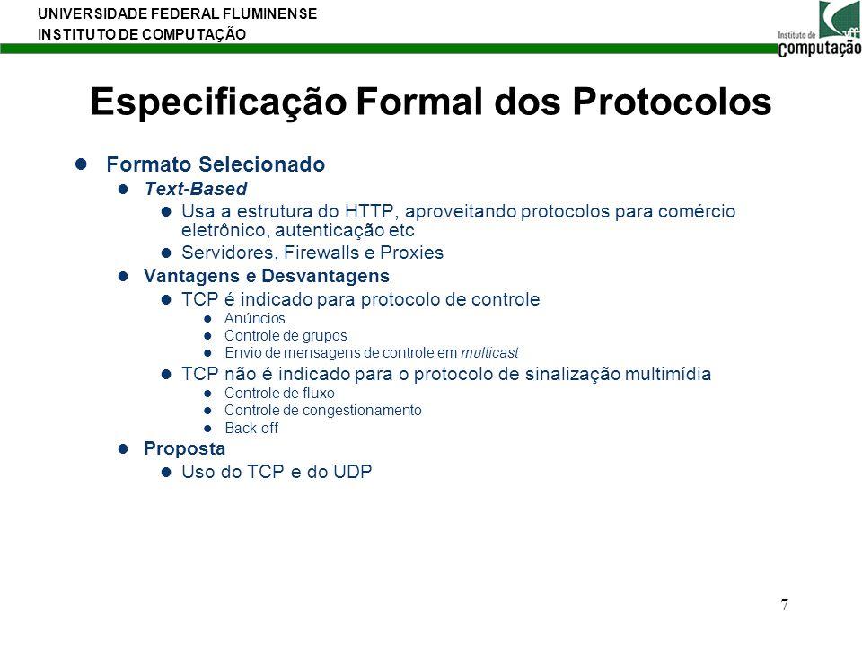UNIVERSIDADE FEDERAL FLUMINENSE INSTITUTO DE COMPUTAÇÃO 7 Especificação Formal dos Protocolos Formato Selecionado Text-Based Usa a estrutura do HTTP,