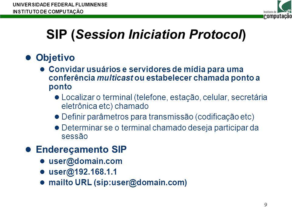 UNIVERSIDADE FEDERAL FLUMINENSE INSTITUTO DE COMPUTAÇÃO 9 SIP (Session Iniciation Protocol) Objetivo Convidar usuários e servidores de mídia para uma