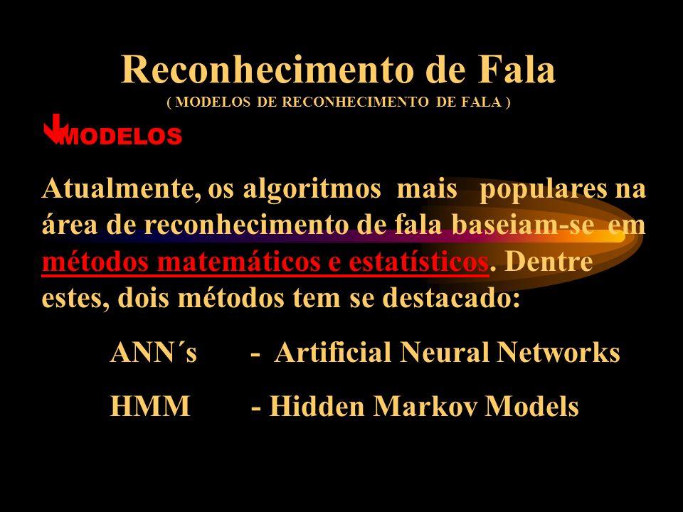 Reconhecimento de Fala ( SOLUÇÕES DAS DIFICULDADES DOS SISTEMAS DE REC.) ê SOLUÇÕES Modelos estatísticos de linguagem, baseados na estimativa de ocorr