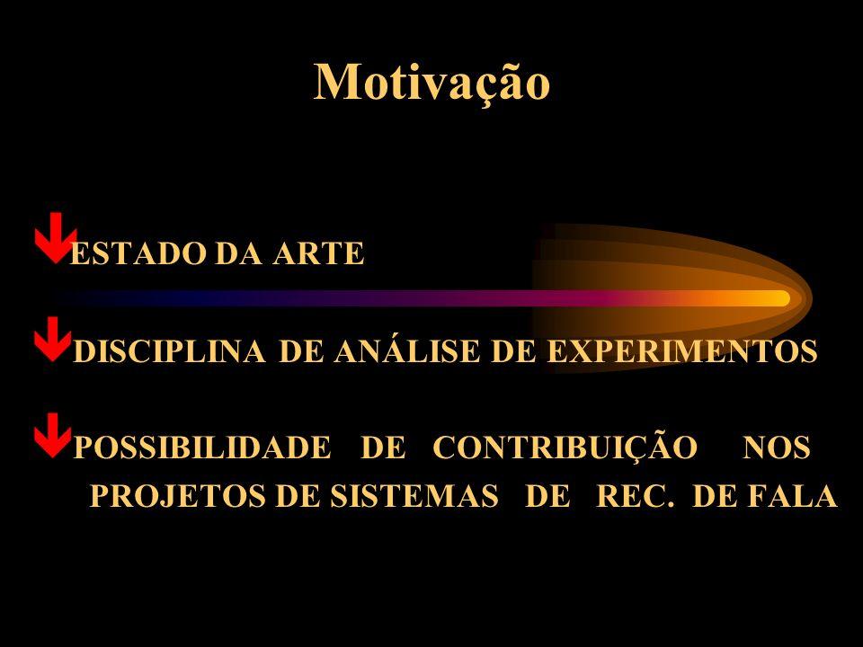 Motivação ê ESTADO DA ARTE ê DISCIPLINA DE ANÁLISE DE EXPERIMENTOS ê POSSIBILIDADE DE CONTRIBUIÇÃO NOS PROJETOS DE SISTEMAS DE REC.