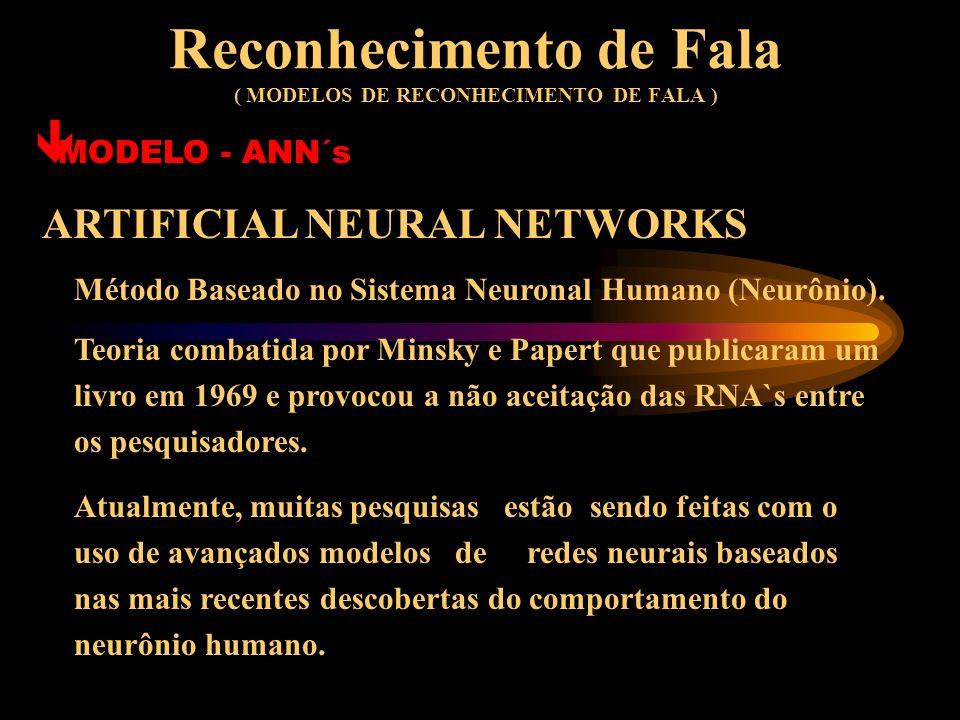 Reconhecimento de Fala ( MODELOS DE RECONHECIMENTO DE FALA ) MODELOS Atualmente, os algoritmos mais populares na área de reconhecimento de fala baseia