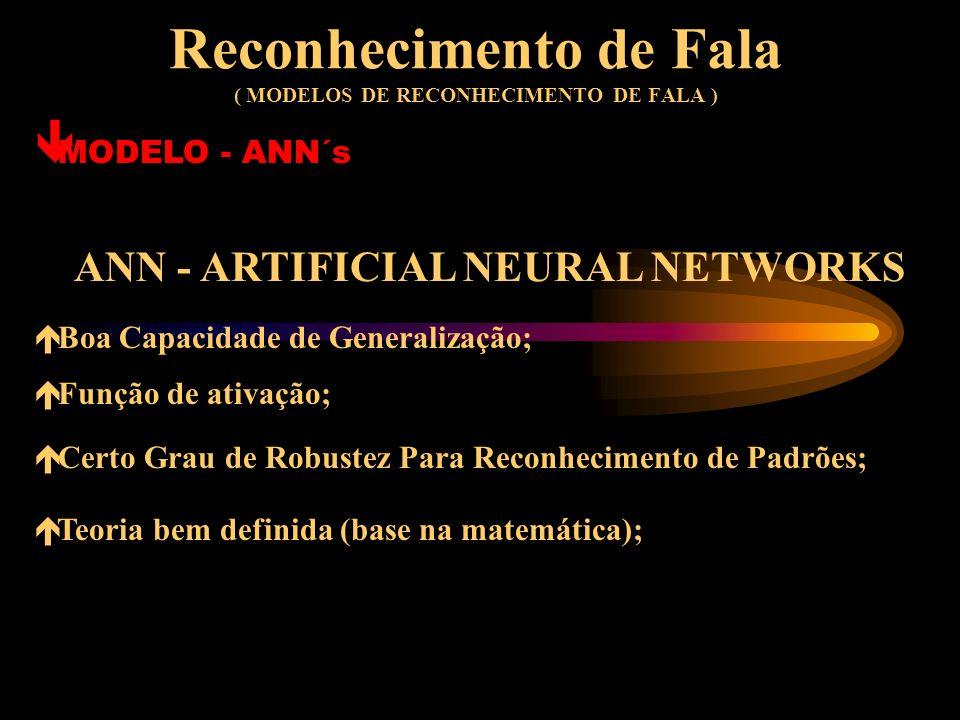 Reconhecimento de Fala ( MODELOS DE RECONHECIMENTO DE FALA ) ê MODELO - ANN´s ARTIFICIAL NEURAL NETWORKS Método Baseado no Sistema Neuronal Humano (Ne