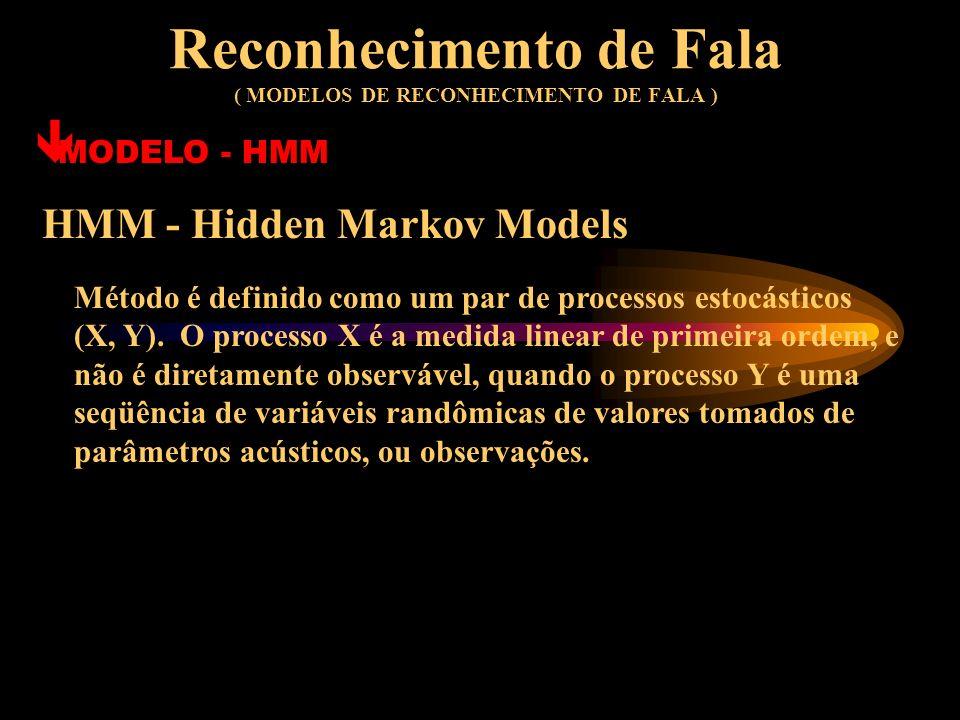 Reconhecimento de Fala ( MODELOS DE RECONHECIMENTO DE FALA ) ê MODELO - ANN´s ANN - ARTIFICIAL NEURAL NETWORKS é Boa Capacidade de Generalização; é Ce