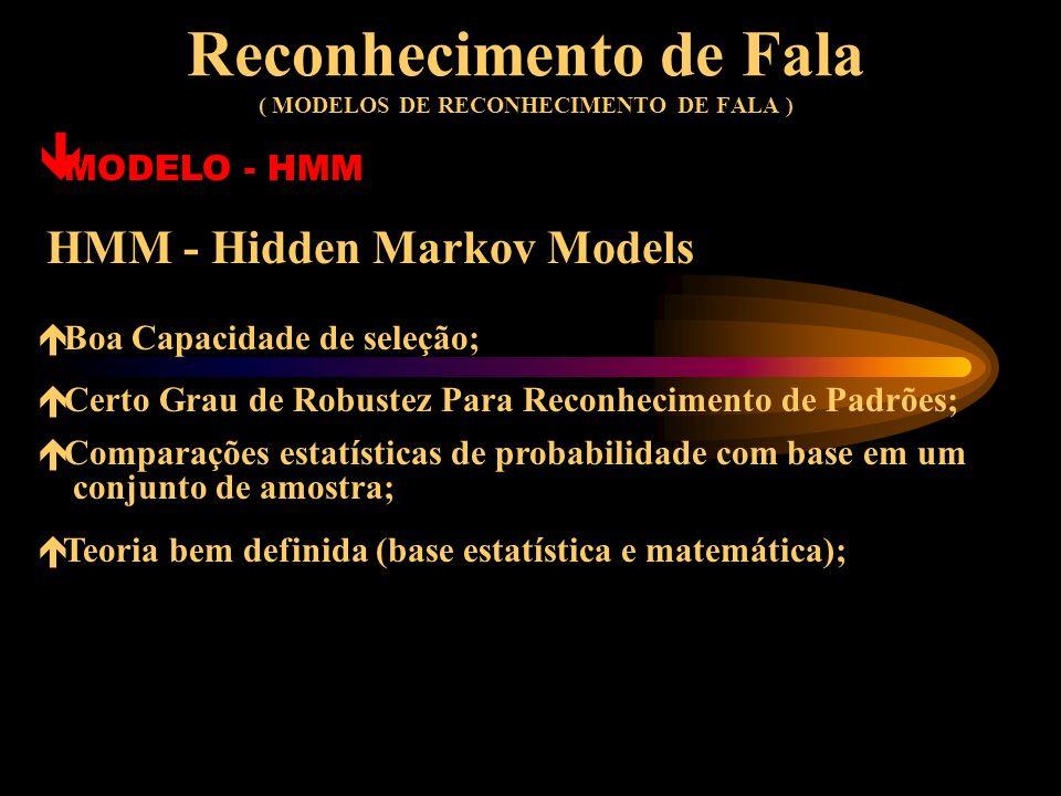Reconhecimento de Fala ( MODELOS DE RECONHECIMENTO DE FALA ) ê MODELO - HMM HMM - Hidden Markov Models Método é definido como um par de processos esto