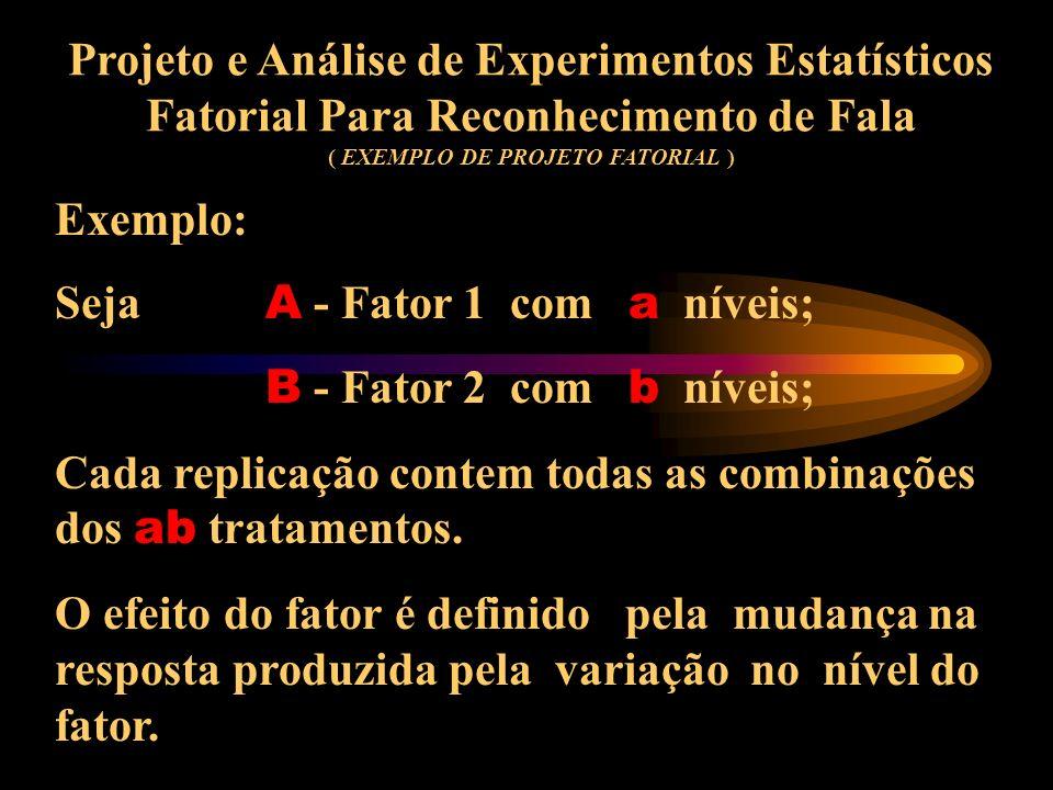 Projeto e Análise de Experimentos Estatísticos Fatorial Para Reconhecimento de Fala ( CONCEITO DE PROJETO FATORIAL ) Muitos experimentos, envolvem o e