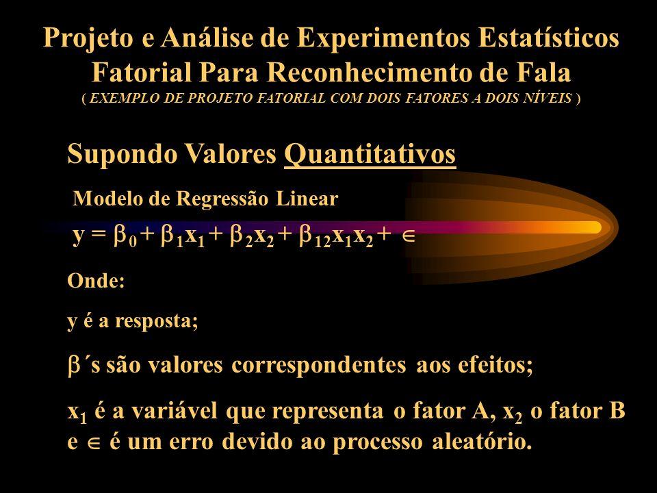 Projeto e Análise de Experimentos Estatísticos Fatorial Para Reconhecimento de Fala ( EXEMPLO DE PROJETO FATORIAL COM DOIS FATORES A DOIS NÍVEIS ) Com