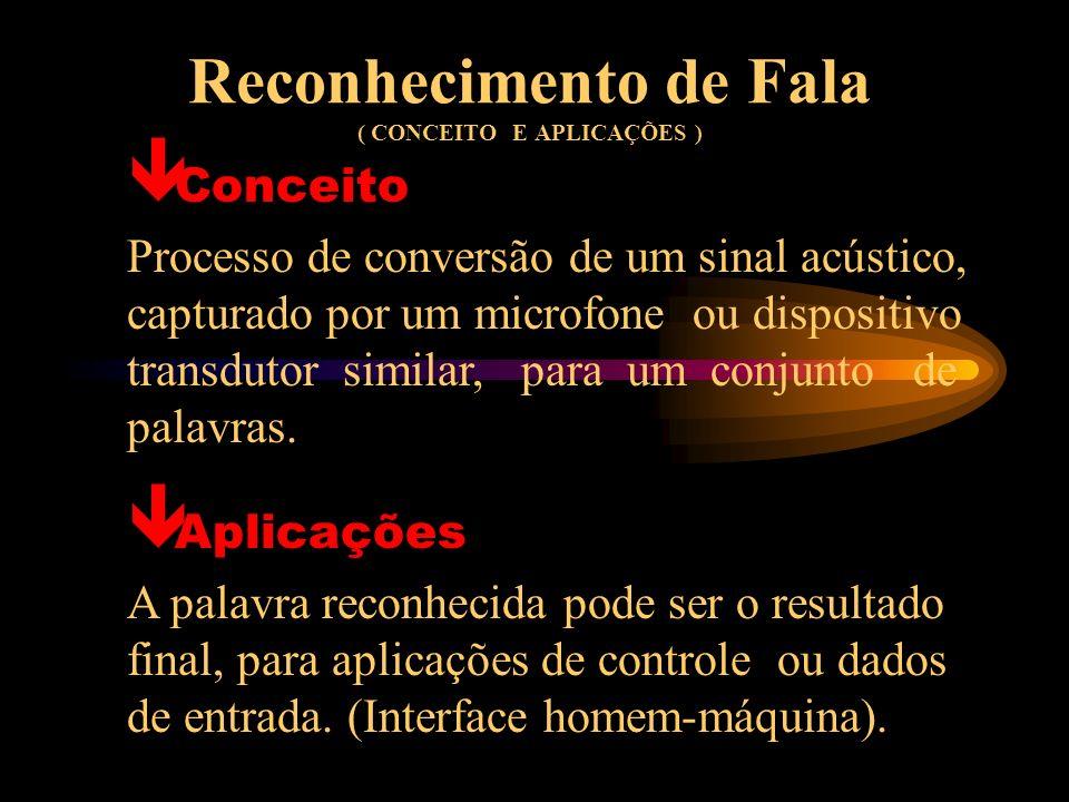 Reconhecimento de Fala ( CONCEITO E APLICAÇÕES ) Conceito Processo de conversão de um sinal acústico, capturado por um microfone ou dispositivo transdutor similar, para um conjunto de palavras.