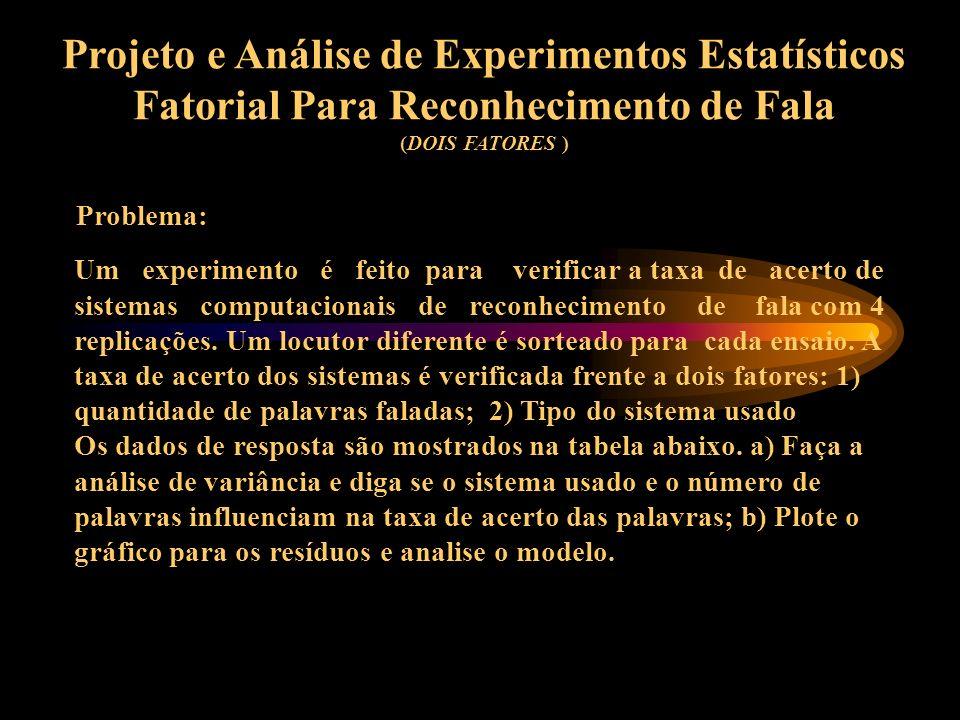 Projeto e Análise de Experimentos Estatísticos Fatorial Para Reconhecimento de Fala ( EXEMPLO DE PROJETO FATORIAL COM DOIS FATORES A DOIS NÍVEIS ) -1