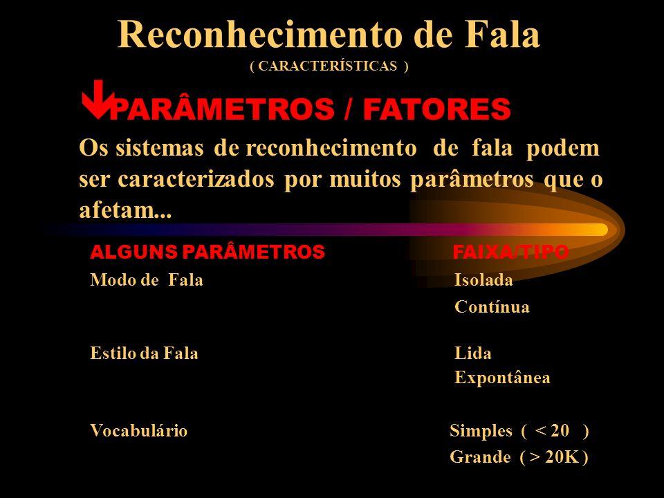 Reconhecimento de Fala ( SOLUÇÕES DAS DIFICULDADES DOS SISTEMAS DE REC.) ê SOLUÇÕES As variações acústicas são tratadas com o uso de adaptação dinâmica de parâmetros, uso de múltiplos microfones e processamento de sinal.